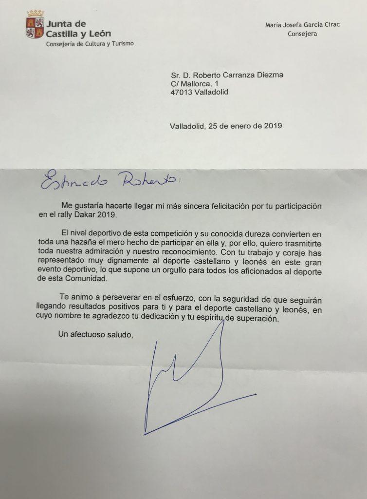 Felicitación de la Junta de Castilla y León
